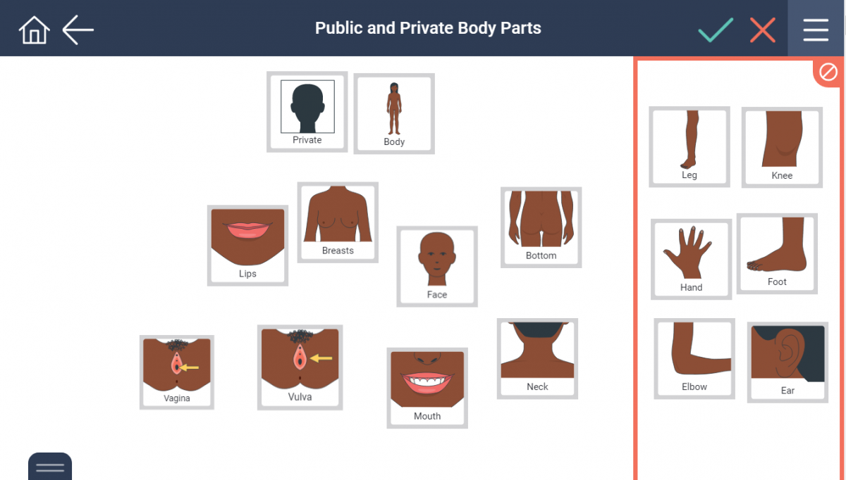 some public and private body parts