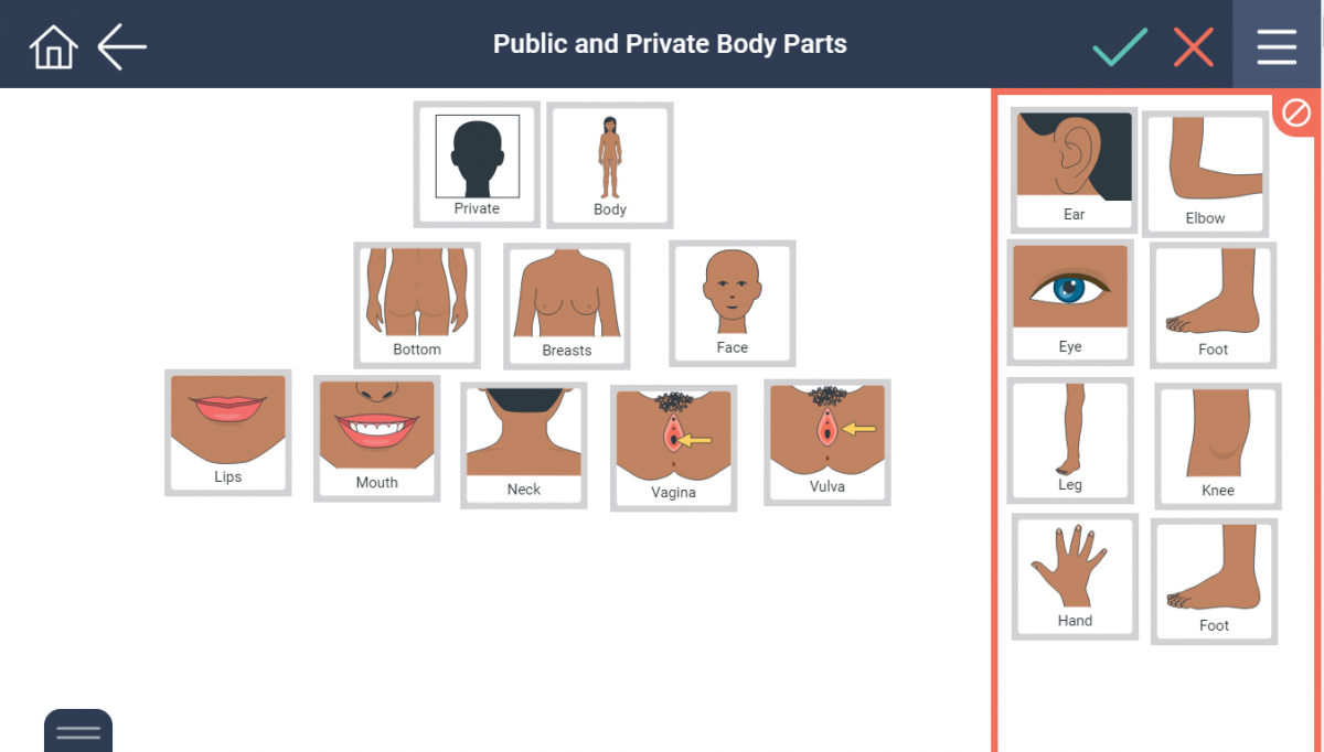 sorting public and private body parts for girls