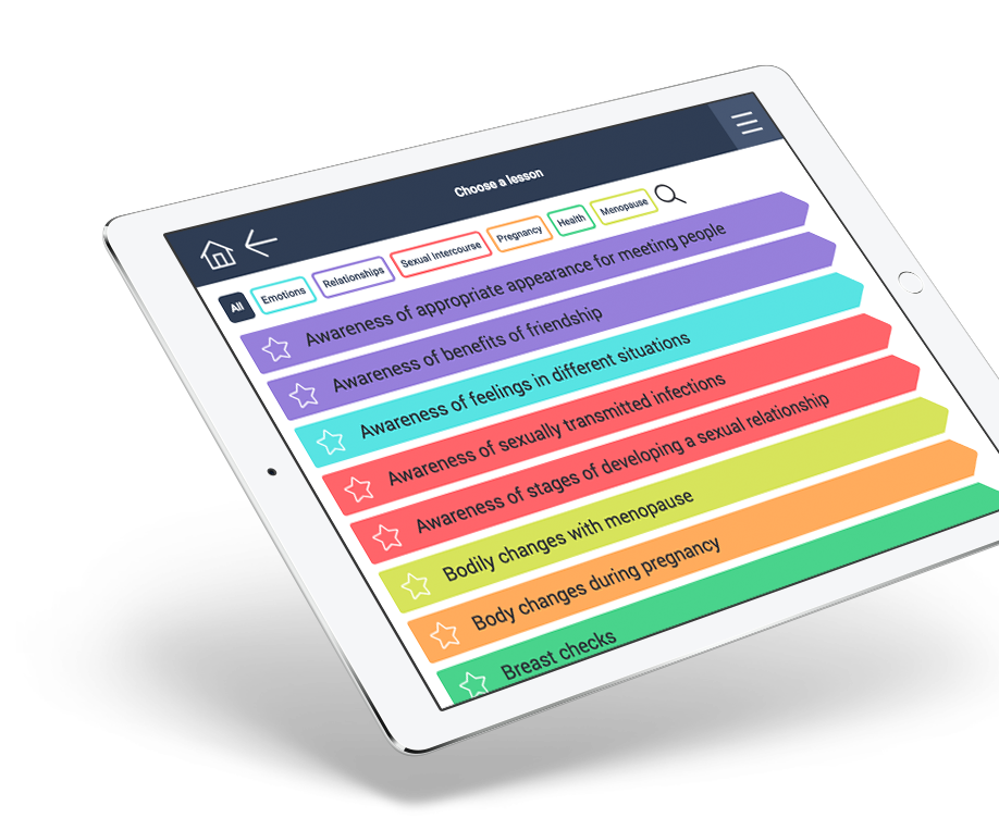 iPad with lesson list for advanced concepts